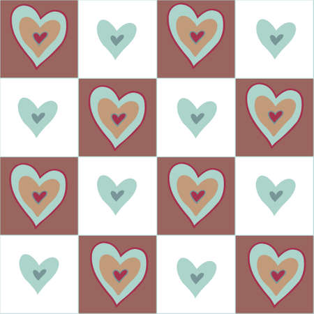 beguin: Beautiful seamless brown pattern with nice hearts. Can be used for wallpaper, pattern fills, greeting cards, webpage backgrounds, wrapping paper, scrap booking or fabric. Vector illustration. EPS 10. Illustration