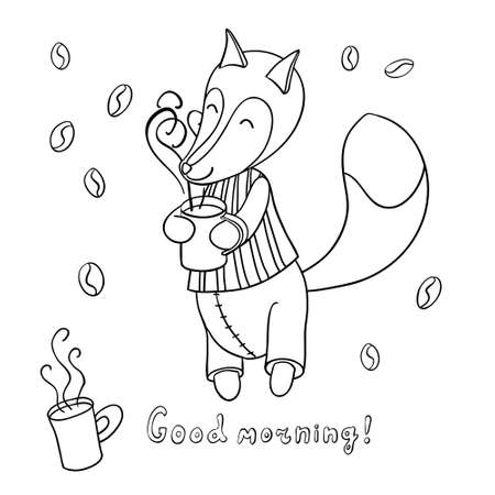 good evening: Cute cartoon fox in striped pajamas drinking tasty coffee and smiling. Isolated on white background. Good morning!