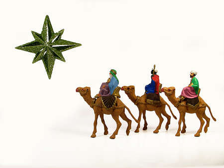 Three Wise Men following a star to Bethlehem Stock Photo - 16469647
