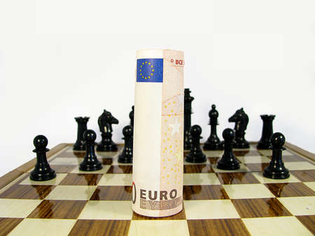 symbology all against the euro to defeat represented in a chessboard Stock Photo - 16550480
