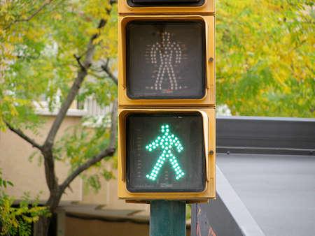 dont walk: Pedestrian traffic lights green light