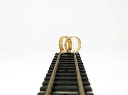 destination wedding: Railroad Track with destination wedding Stock Photo