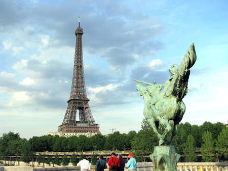 champs elysees quarter: horse and eifeld tower background Stock Photo