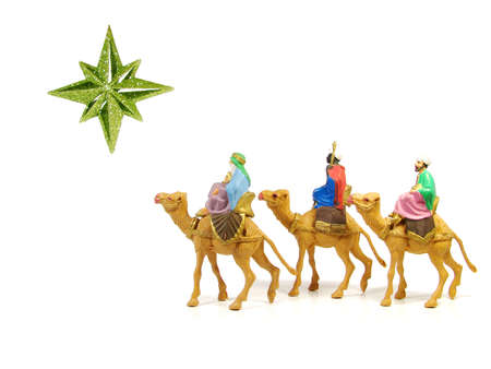 Three Wise Men following a star to Bethlehem photo