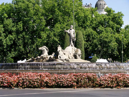 paseo: The fountain of Neptune in Madrid, Spain
