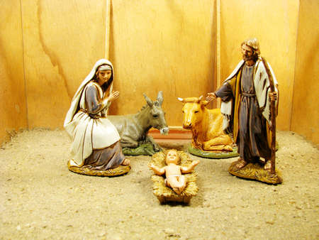 A complete Nativity scene including the holy family   animals with stable photo