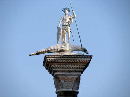Venice. Piazetta - sculpture of St. Theodore, Venices first patron  photo