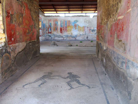 fitness of the city of Pompeii and mosaic at the entrance Stock Photo - 17118676