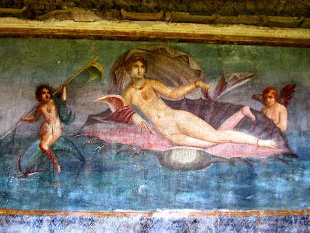 fresco: Venus in ancient painted wall frescos at the ancient Roman city of Pompeii