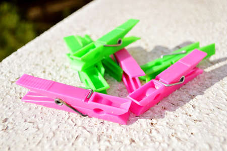 group of pink and green  clothes pegs  Stock Photo - 17143157