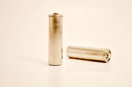 pila: two batteries on white background Stock Photo