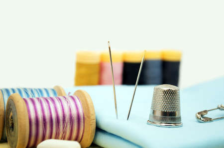 Sewing utensils isolated Stock Photo