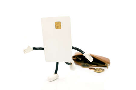 credit card wallet escaping with white background Stock Photo - 17344032