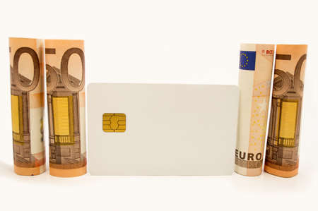 50 € and credit-card white background Stock Photo - 17560198