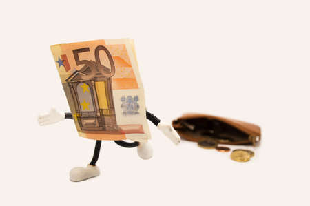 dues: bill 50  euro  escaping from a purse with white background Stock Photo