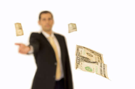 Business man handing a money with background white Stock Photo - 17817629