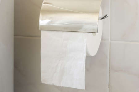 toilet paper roll on the holder Stock Photo - 18196947