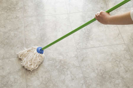floor scrubbing with a mop photo