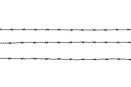 three  pieces of barbed wire in background white photo
