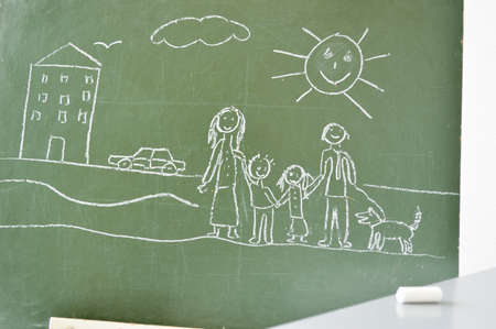 blackboard with a drawing of a child after drawing Stock Photo - 19028329
