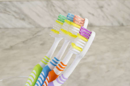 group of multicolored toothbrushes photo