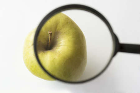 reviewing an apple with a magnifying glass photo