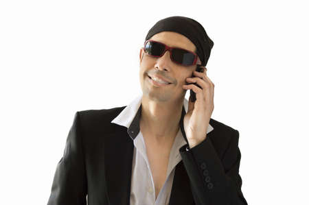 parody of a Latin lover calling by phone Stock Photo - 19609844