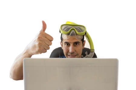 men showing a thumbs up when achieved a great deal for your holiday Stock Photo
