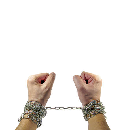 concatenation: men and Hands with chains around them on white background Stock Photo
