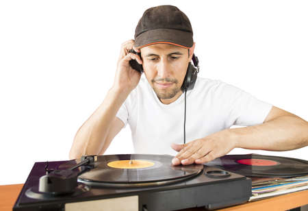 DJ mixing vinyl record on a  turntable with white background Stock Photo - 20997547