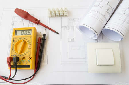 engineering plans: plans and tools for the installation of a house Stock Photo