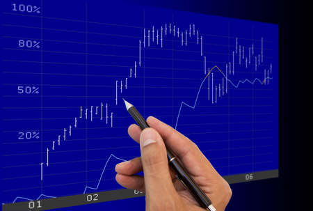 business person analysing financial charts on an lcd monitor photo