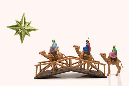 wisemen: three wisemen crossing a bridge on their way to Bethlehem Stock Photo