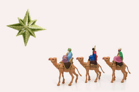 three wise kings: three wisemen to Bethlehem following the star Stock Photo