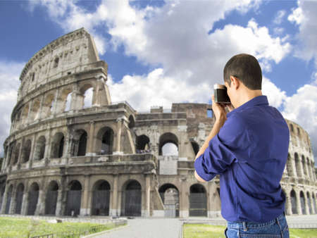 Tourists photographing Colosseum  icon Roma Stock Photo