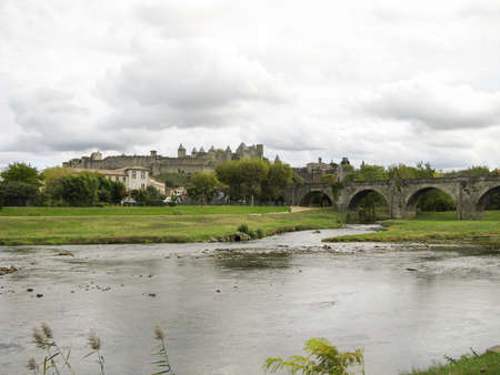 castle of Carcassonne and bridge in  south of France photo