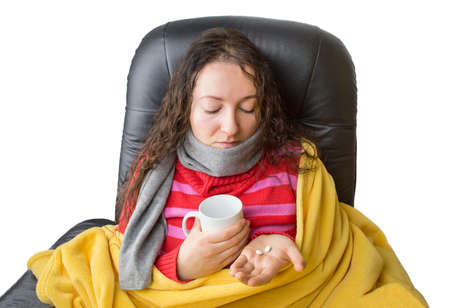 woman taking aspirin pills for fever Stock Photo - 26718094