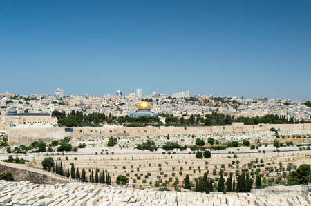 panorama of Jerusalem with of the Temple Mount and Dome of the Rock and Al Aqsa Mosque from the Mount of Olives photo