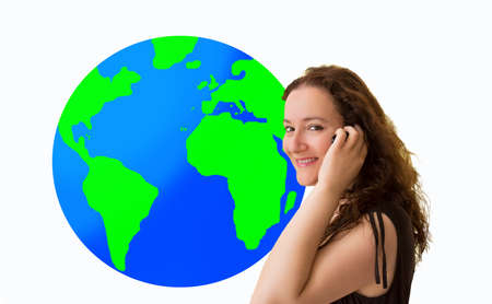 roaming: woman is calling and  with  a blue world global with international calls roaming