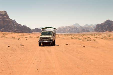 Off road vehicle driving in the wadi rum desert from jordan