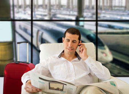 luxe: man commenting economy news inside the vip room Stock Photo