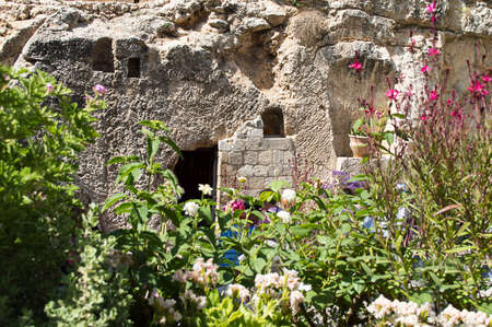 flowers in the garden: Jerusalem Garden Tomb in Jerusalem; one of two sites proposed as the place of Jesus burial in Israel