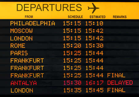 departures board: international airport departures board isolated