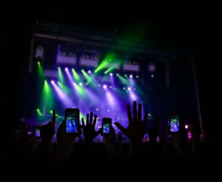 concert stage: Group of people enjoying a concert and photography Stock Photo