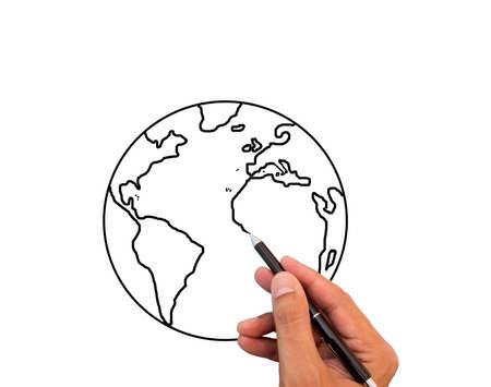 Close up of hand drawing the world map in a whiteboard photo