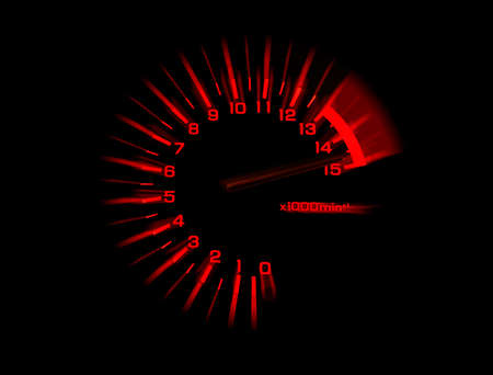 dash: automobile tachometer on black background speedometer Stock Photo