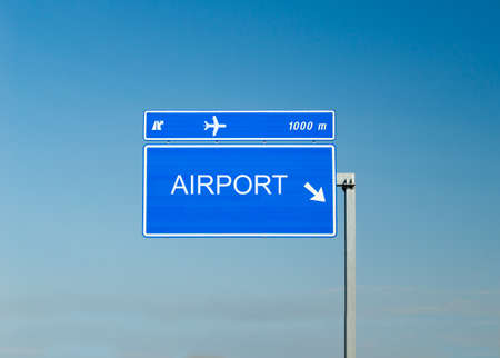 airport sign: Airport sign isolated on a highway