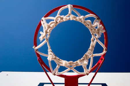 goal cage: close up of basketball hoop with sky background Stock Photo