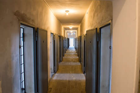 killer cells: corridor of an old prison Stock Photo