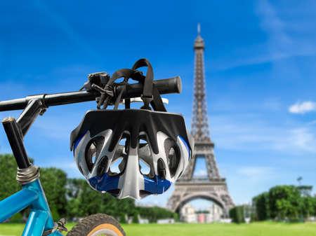 secure brake: blue bicycle helmet in paris